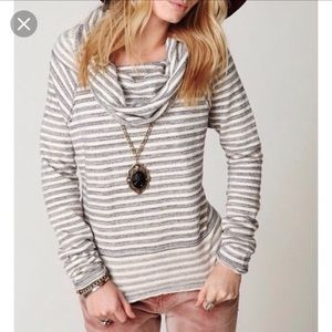 Free People Striped Cowl Neck Raw Edge Pullover XS